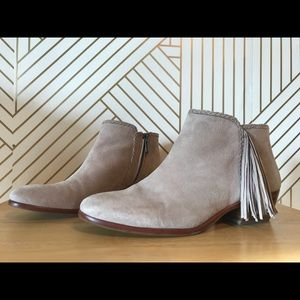 Sam Edelman Taupe Putty Paige Fringe Suede Booties